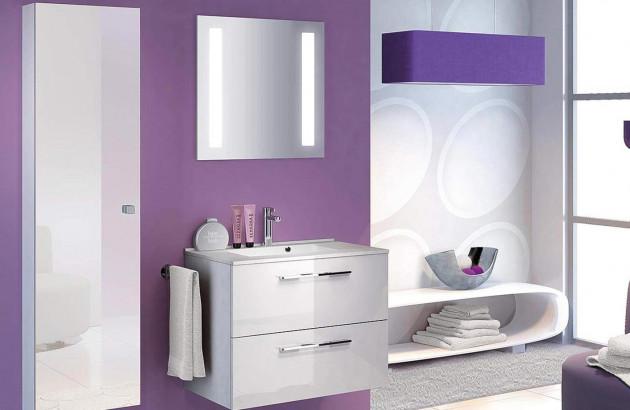 Salle de bains graphic mauve et blanc de Delpha