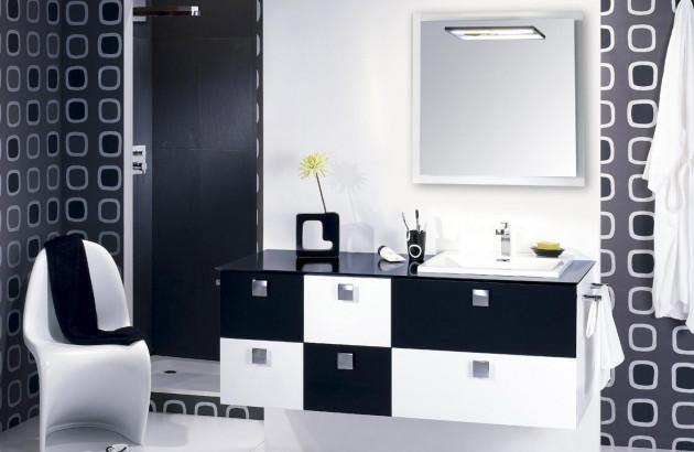 Meuble de salle de bains noir et blanc
