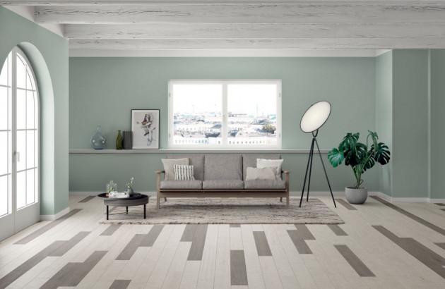 Carrelage patchwork dans un salon aux couleurs pastel