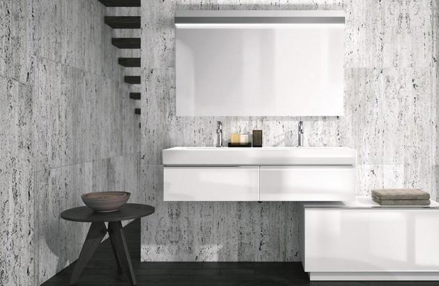 Large vasque avec meuble sous-vasque épuré et design