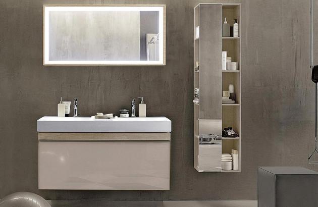 Espace lavabo avec meuble sous-vasque et colonne de rangement