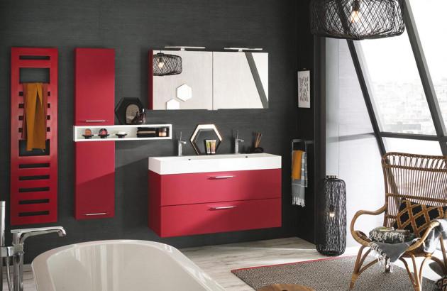 Meubles de salle de bain tendance avec tiroirs de rangements et miroir rétro-éclairé