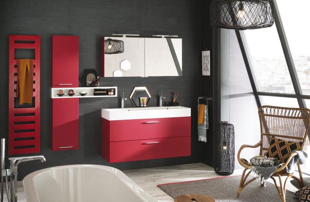 Meuble de salle de bains Delpha rouge cerise