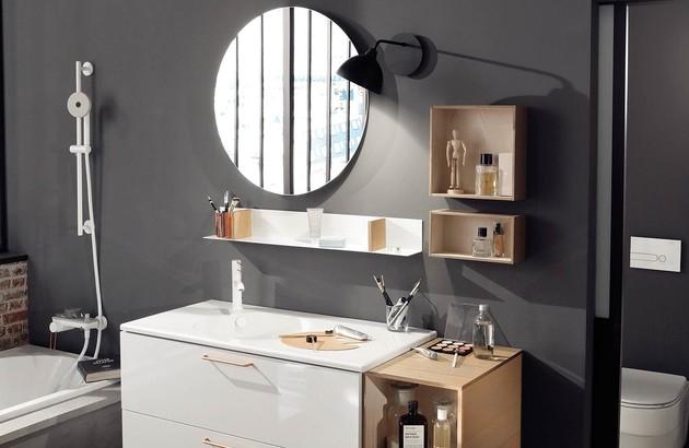 meuble blanc et miroir rond odeon rive gauche de jacob delafon