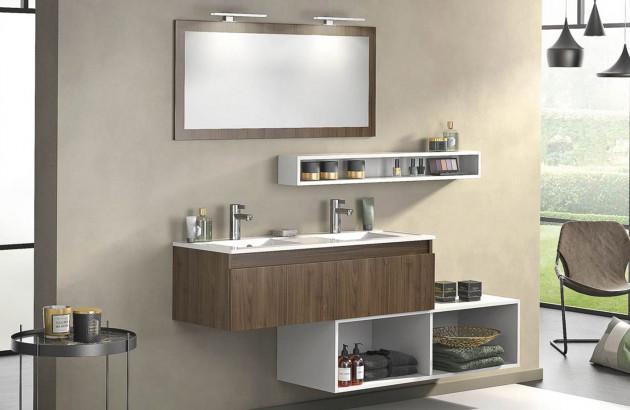 Meuble de salle de bains bois foncé