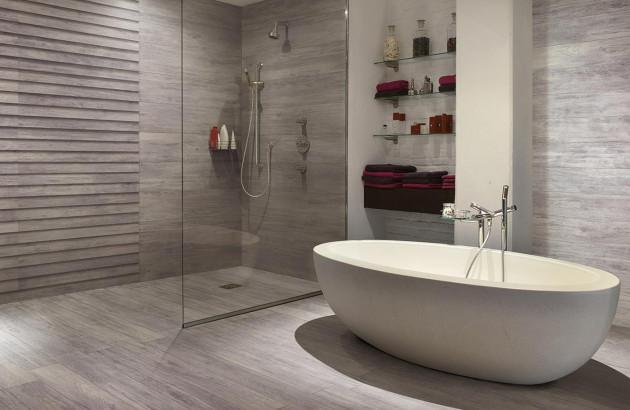 Ambiance boisée dans une salle de bains