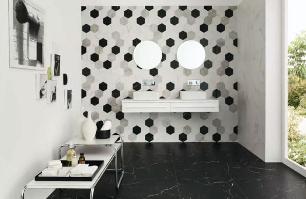 Carrelage Marmi Reali Mat de Ceramiche Piemme dans une salle de bains suédoise