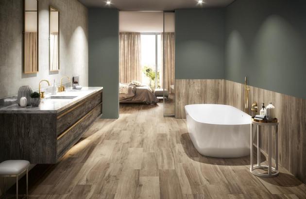 Carrelage Toundra Pavigrès dans une salle de bains au style suédois