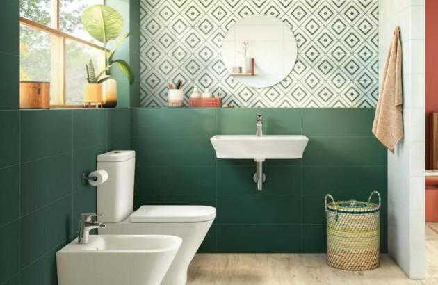 Salle de bains suédoise avec du carrelage Maely Roca