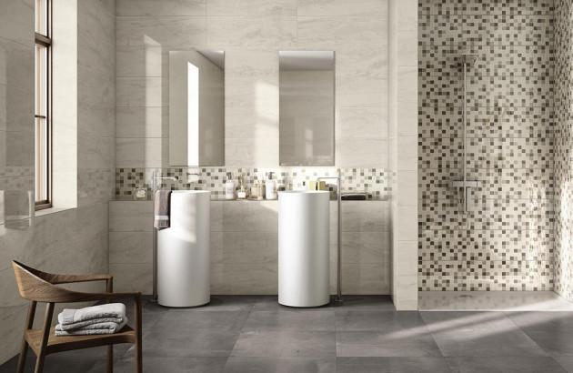 Carrelage noir blanc notre belle s lection espace aubade - Carrelage blanc brillant salle de bain ...