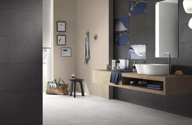 Carrelage noir et blanc Creative Concrete de la marque Imola