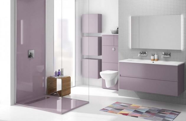 Meuble de salle de bains Ketty en violet pastel