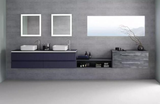 Meuble de salle de bains Halo de Sanijura en finition violette