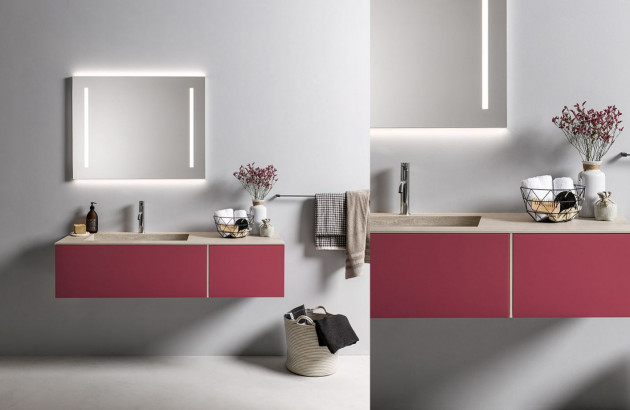 Meuble de salle de bains TAO coloris violet clair