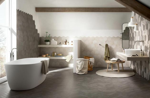 salle de bain avec un look carrelage incomparable