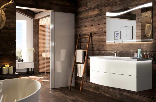 Salle de bains rénovée avec des meubles Curl de Cedam