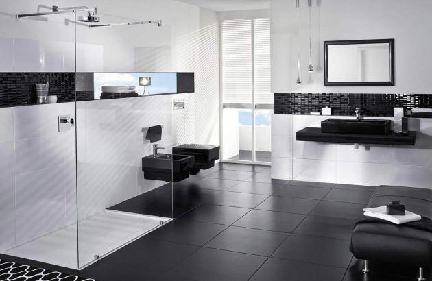 Salle de bains spacieuse noir et blanche