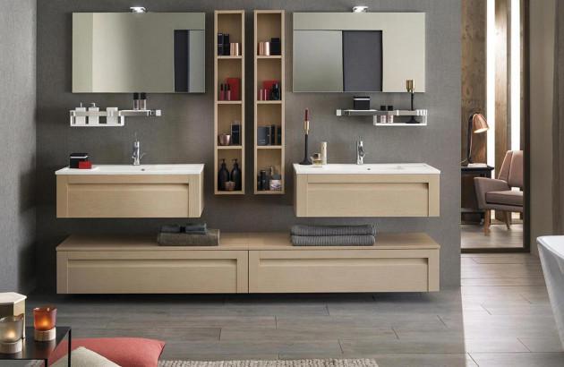 Salle de bains familiale aménagée avec les meubles Unique Wood de Delpha