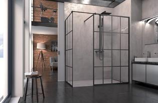 Les parois de douche pour un style verri re dans la salle Miroir imitation verriere