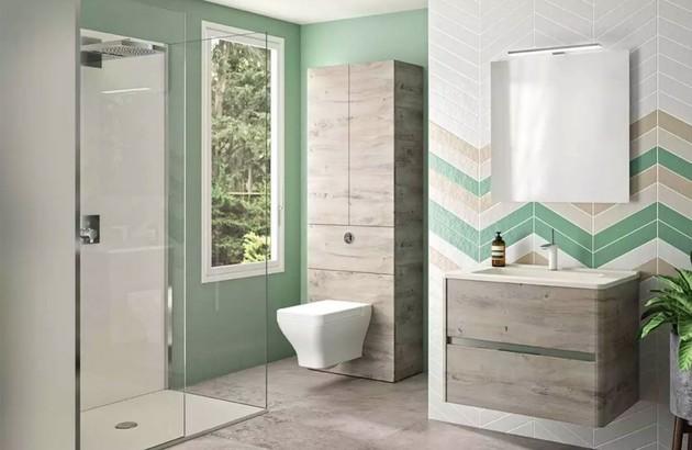 Meuble salle de bains Dolce dans une salle de bains verte