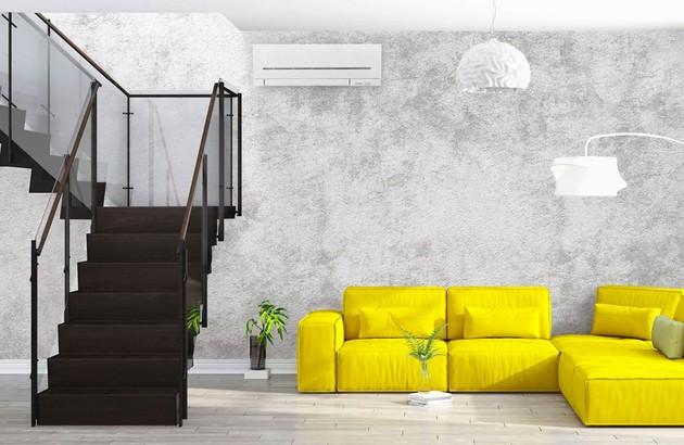 climatiseur mural réversible dans un séjour