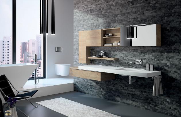 Rangements dans une salle de bain design