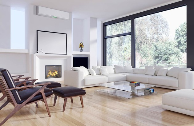 représentation d'une pièce à vivre avec une climatisation murale