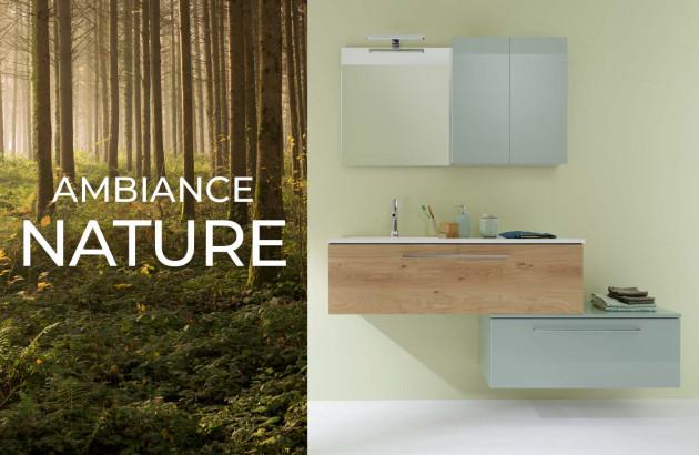 Ambiance nature avec le meuble de salle de bains Impact 2 de la marque Sanijura