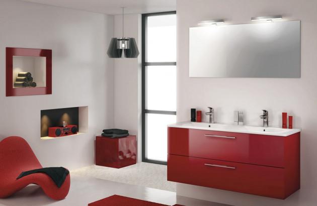 Meuble de salle de bains Delpha rouge