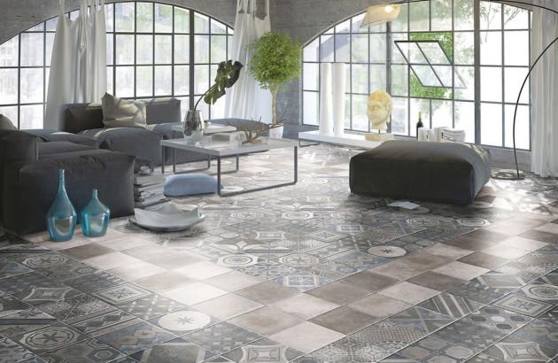 Carrelage sol intérieur effet carreaux de ciment