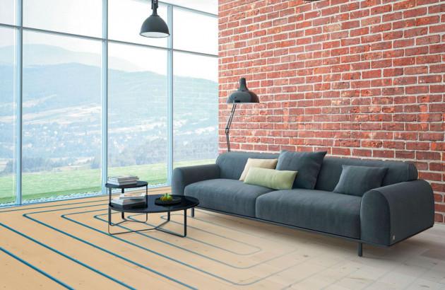 Plancher chauffant au sol d'un salon