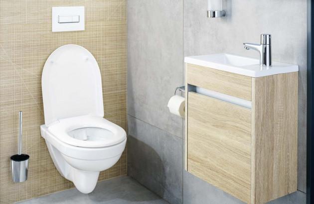 WC suspendu Clivia de la marque Vigour avec bâti-support et système double chasse