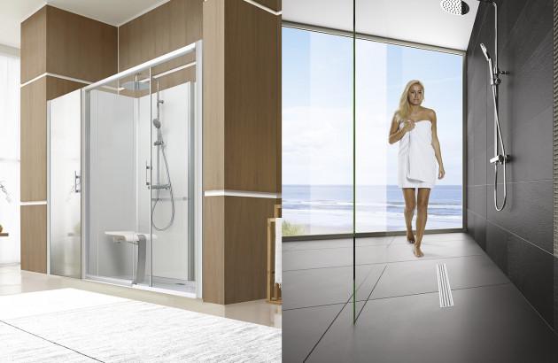 Cabine de douche et douche à l'italienne