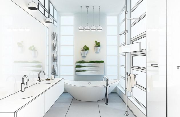 salle de bains dessin technique transformation