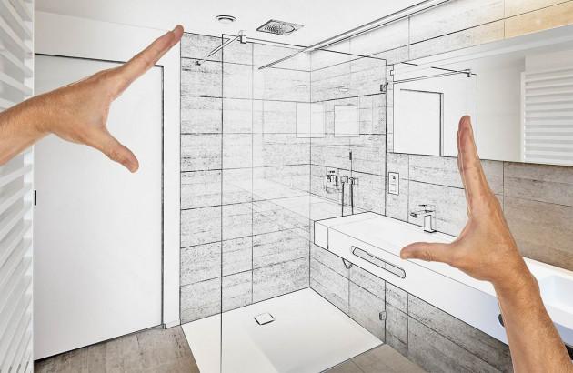 Rénovation de salle de bains, croquis installation d'une douche