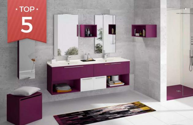 Meuble de salle de bains Delpha en violet