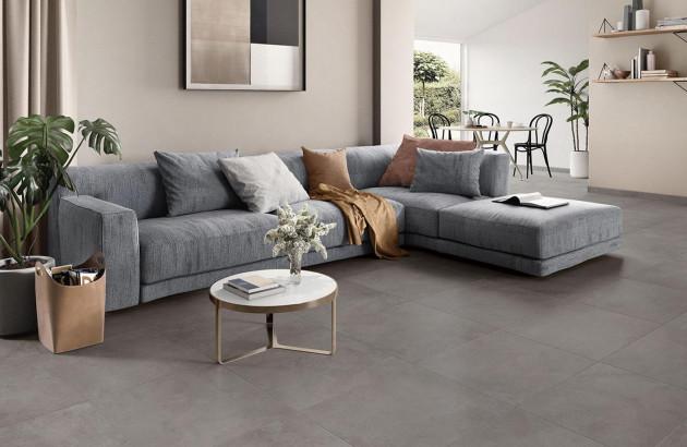 Salon design avec carrelage grès cérame brun