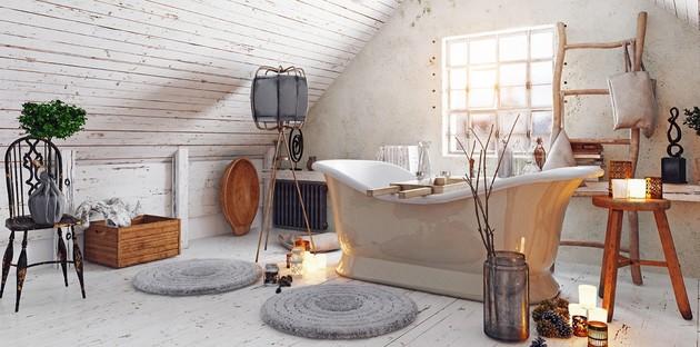 Une salle de bain rustique