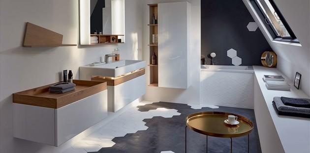 Vasque à bonne hauteur dans la salle de bains Terrace de Jacob Delafon