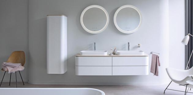 Meuble double vasque Happy D.2 plus de Duravit pour une salle de bains organisée et pratique