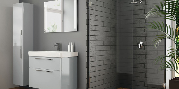 Meuble de salle de bains gris clair