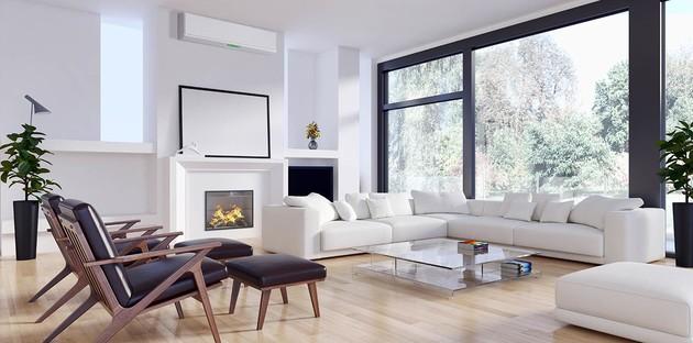 représentation d'une pièce à vivre avec un système de climatisation murale