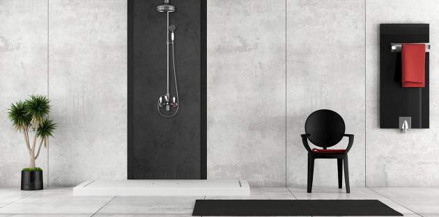 Mur de douche en revêtement de Béton ciré