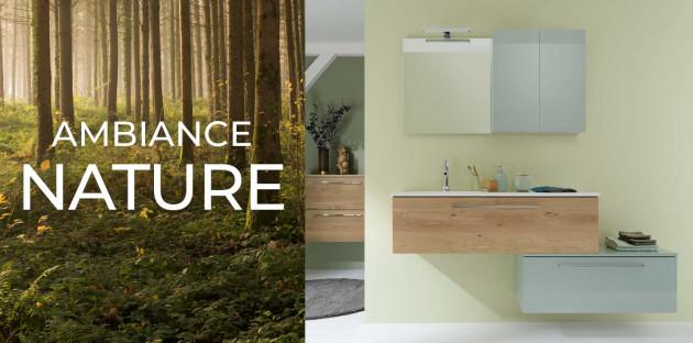 Salle de bain nature avec le meuble aubade création impact 2 de la marque Sanijura