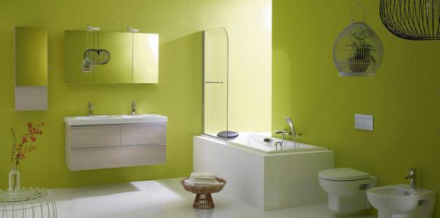 Salle de bains aux murs verts
