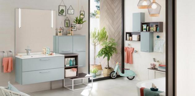 Meuble de salle de bains Delpha bleu pastel