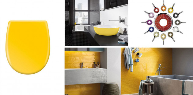Sélection d'accessoires et revêtements jaunes pour la salle de bains