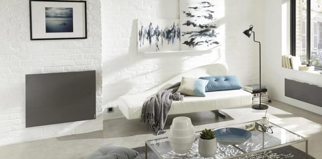 Radiateur mural en fonte pour chauffage basse température dans salon design