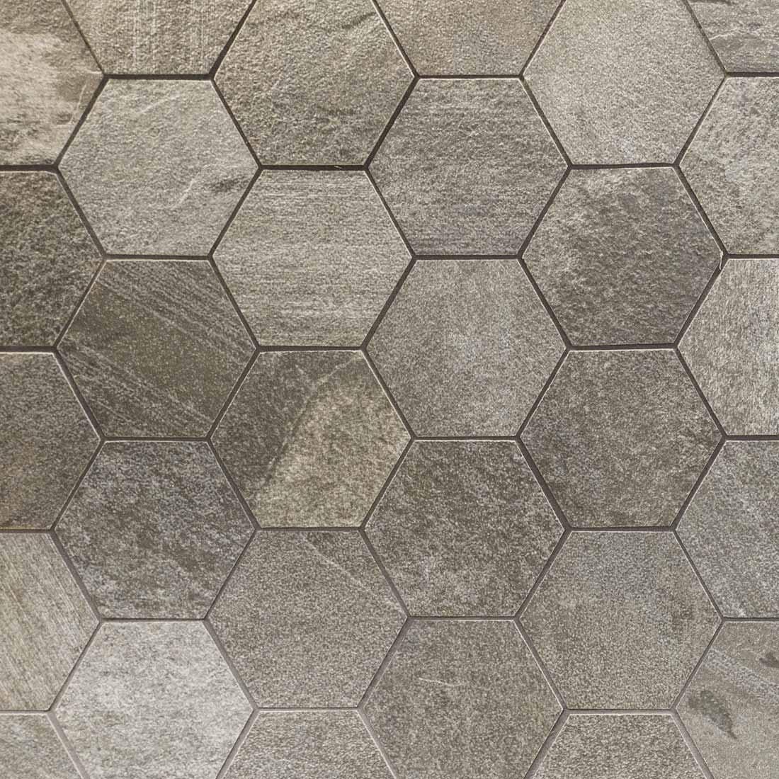 Texture carrelage en polygone gris beige