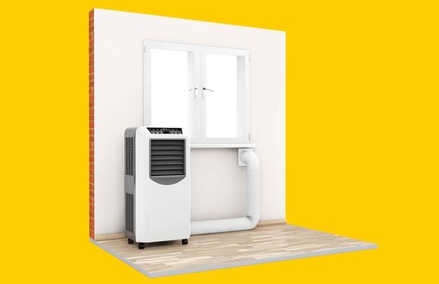 climatiseur mobile avec tuyau d'évacuation